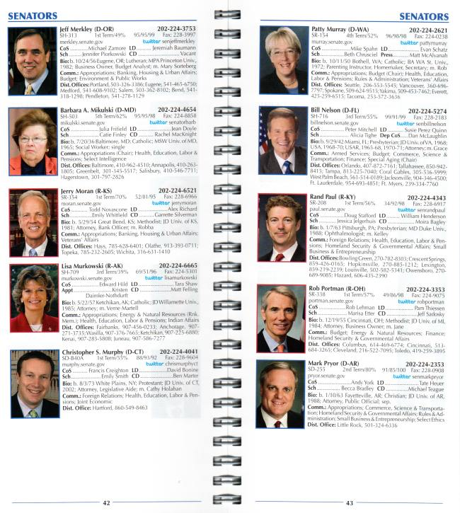 Sample pages from Alphabetical Version of Congressional Directory