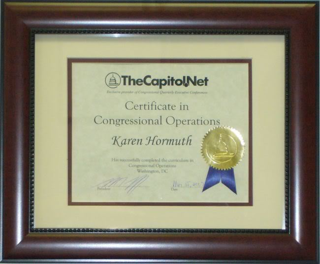 Certificate in Congressional Operations
